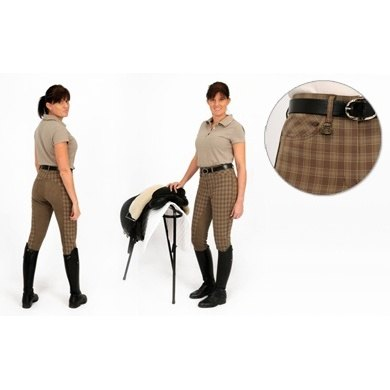 Rugged Horse Ladies Light Brown Check Breeches H1