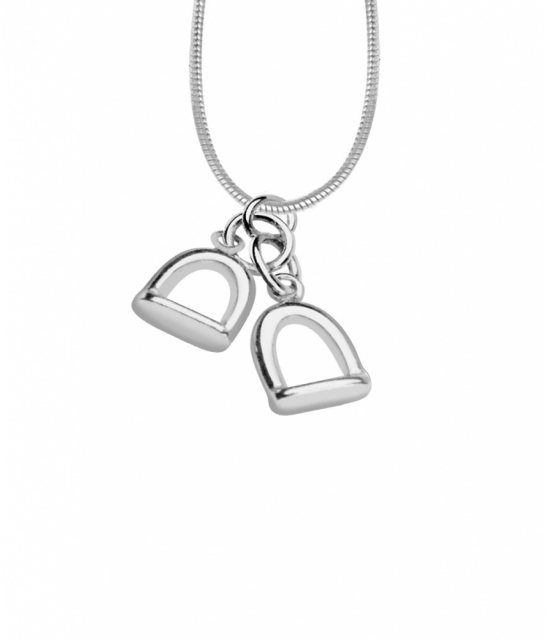 Charms UK Silver Small Double Stirrup Pendant and Chain