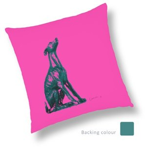 Art by Lewie Sitting Dog Cushion