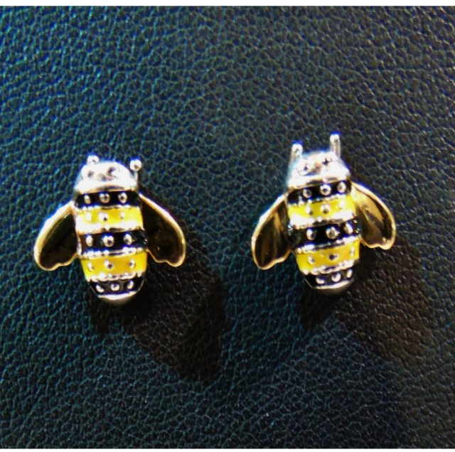 Charms UK Silver Gp And Enamel Bee Earrings