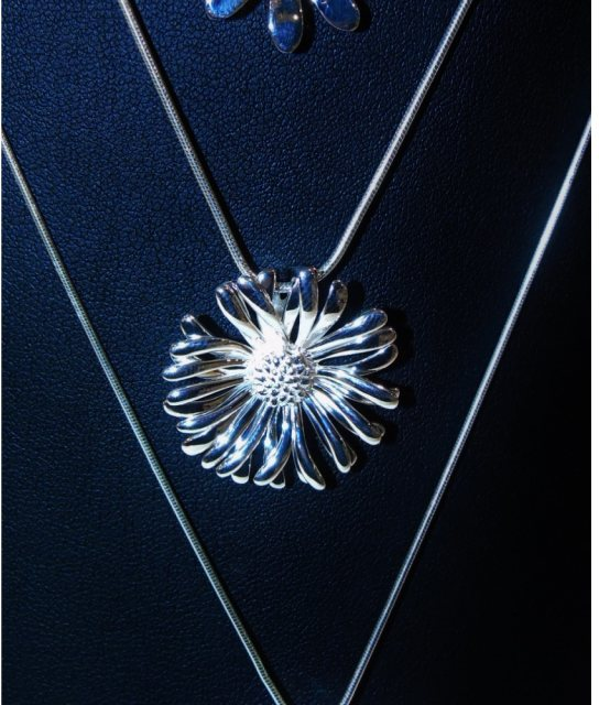 Charms UK Silver Flower Pendant and Chain