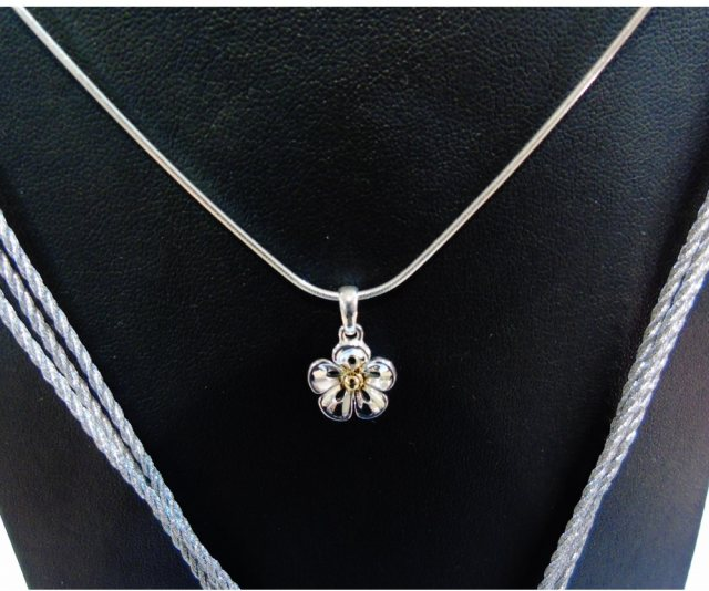 Charms UK Silver Gp Flower Pendant And Chain