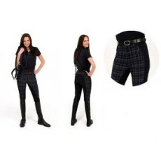 Rugged Horse Ladies Black Check Breeches A6