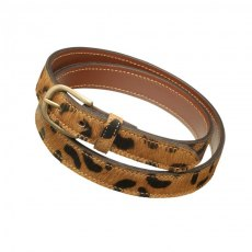 Pampeano Skinny Leopard Print Leather Belt