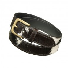 Pampeano Black and White Cowhide Leather Belt