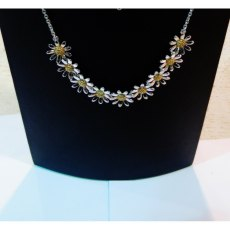 Charms UK Silver And Gp Half Daisy Necklace