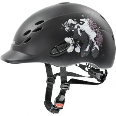Uvex Onyxx Junior Riding Helmet Dekor Pony Black