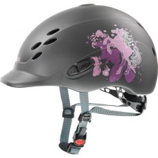 Uvex Onyxx Junior Riding Helmet Dekor Pony Anthracite