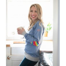 AWOL- Baby Blue With Grey Rib And Rainbow Patch Sweatshirt