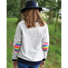 AWOL- Light Grey With Navy Rib And Rainbow Patch Sweatshirt