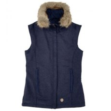 Navy Tweed Gilet with removable faux fur collar